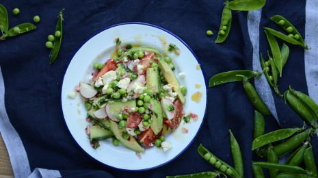 Pea salad overhead
